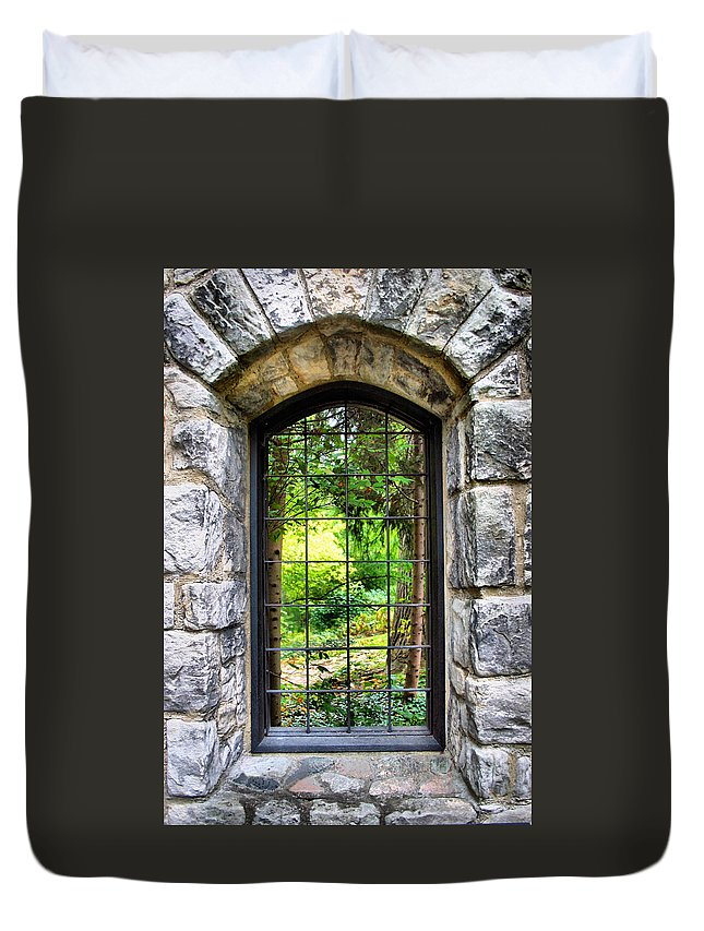 Stone Duvet Cover featuring the photograph Lushness Beyond The Walls by Kristin Elmquist