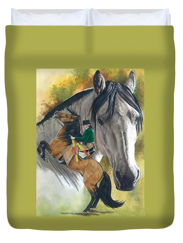 Hoof Stock Duvet Cover featuring the mixed media Lusitano by Barbara Keith