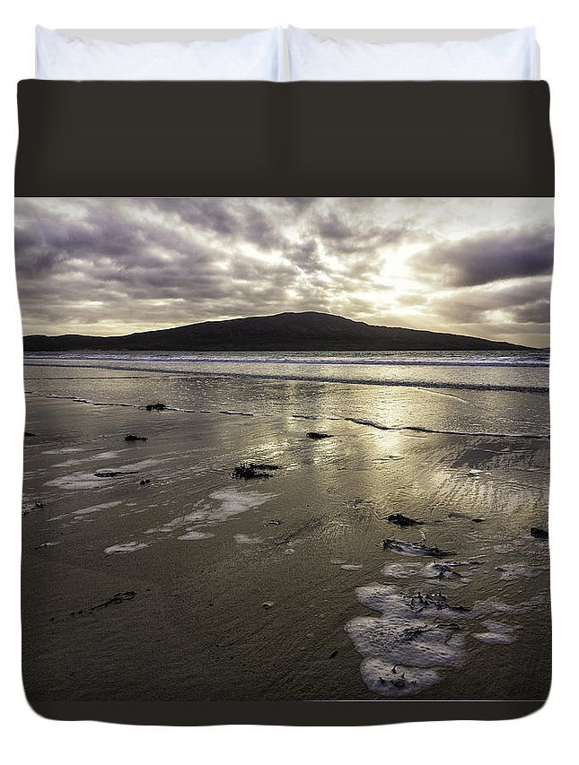Sunset Duvet Cover featuring the photograph Luskentyre Beach Sunset by Fran Gallogly