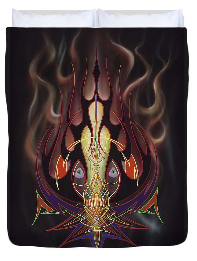 Flames Duvet Cover featuring the painting Lust by Alan Johnson