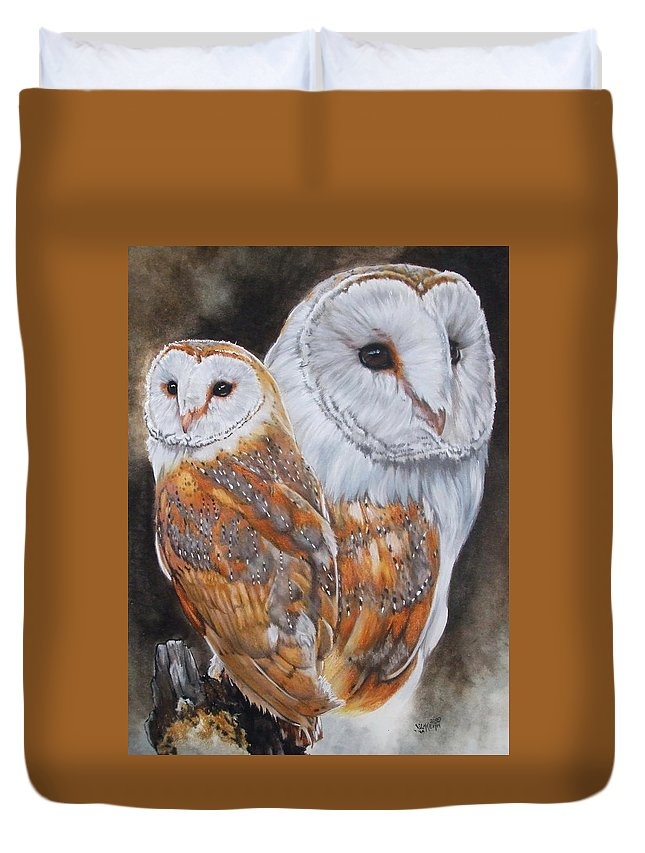 Bird Duvet Cover featuring the mixed media Luster by Barbara Keith