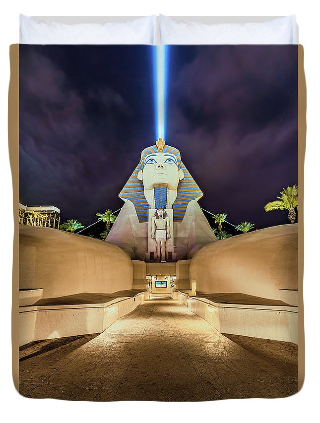 Luxor Duvet Cover featuring the photograph Luxor Casino Egyptian Sphinx Las Vegas Night by Aloha Art