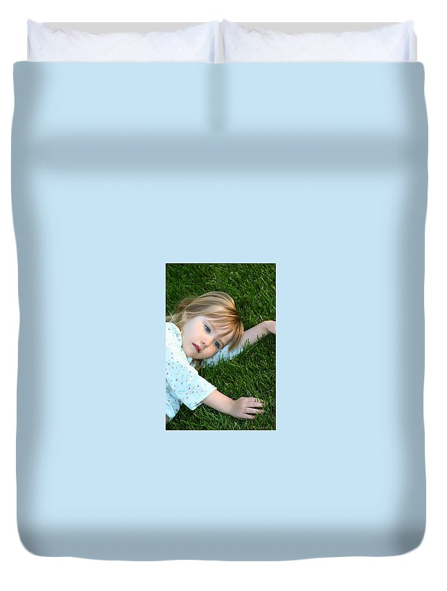 Girl Duvet Cover featuring the photograph Lying In The Grass by Margie Wildblood