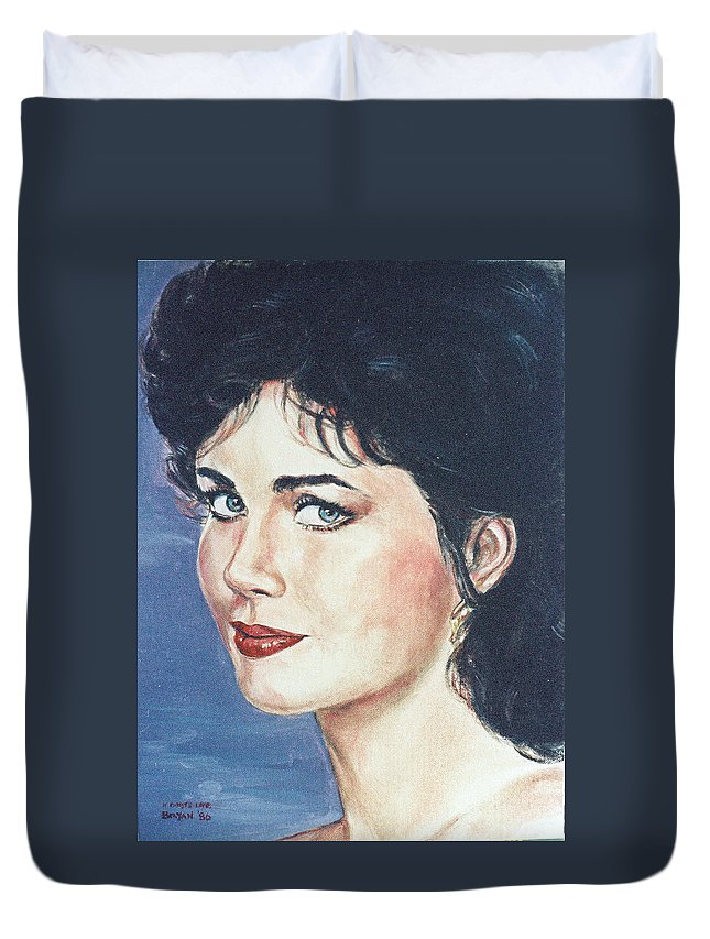 Lynda Carter Duvet Cover featuring the painting Lynda Carter by Bryan Bustard