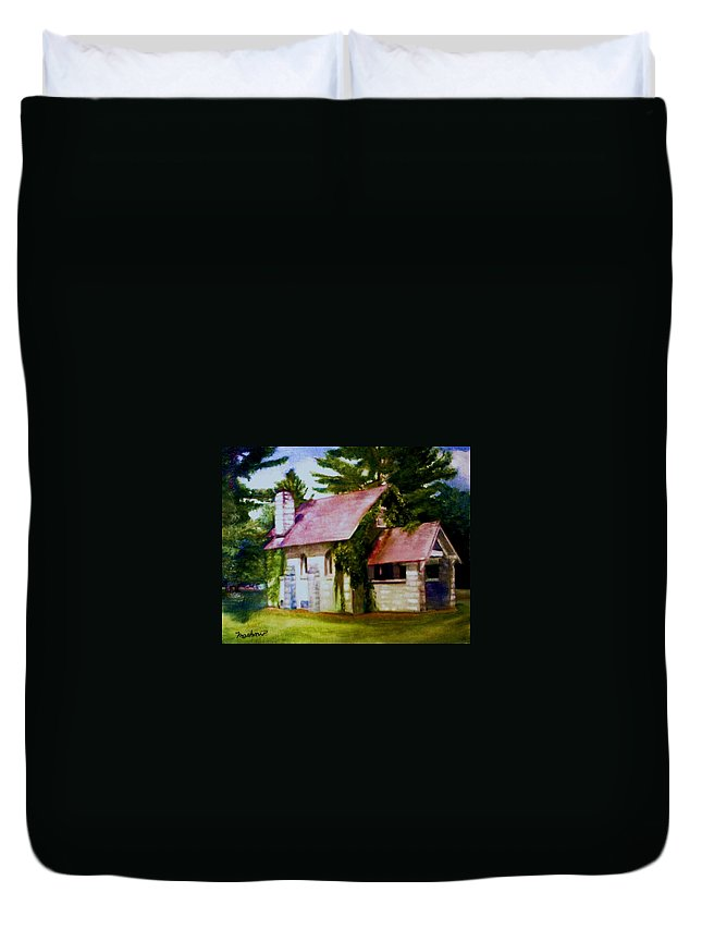 Church Duvet Cover featuring the painting Lyons Falls Church by Sheila Mashaw