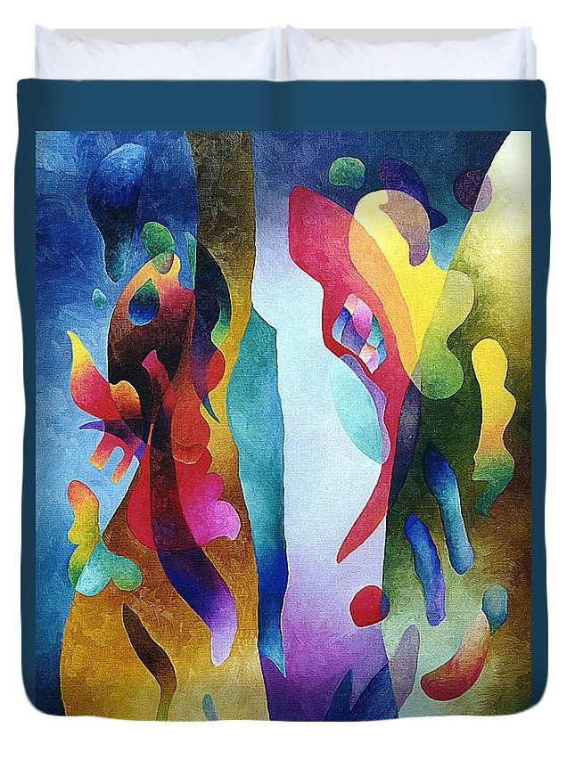 Abstract Duvet Cover featuring the painting Lyrical Grouping by Sally Trace