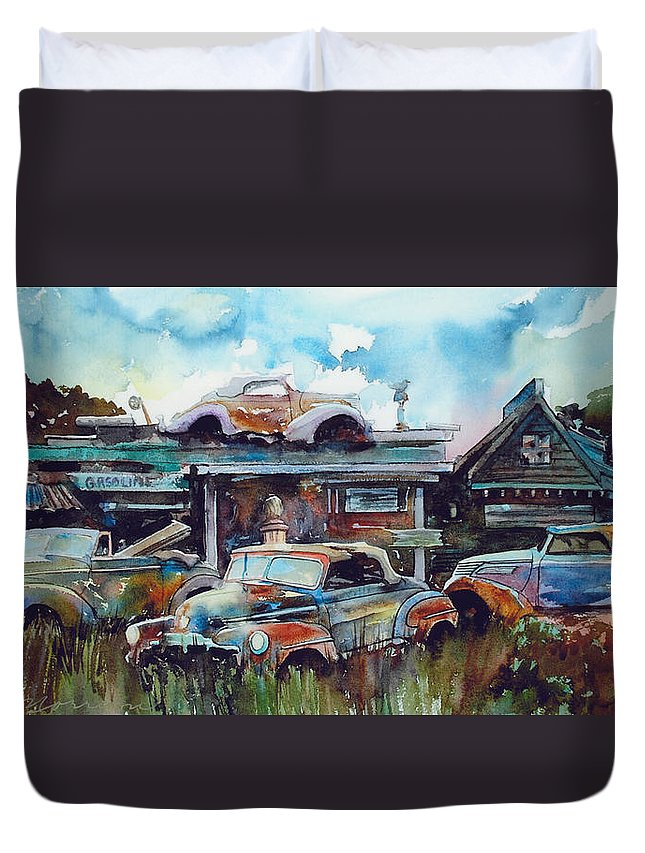 Fords Duvet Cover featuring the painting Lytton Station by Ron Morrison