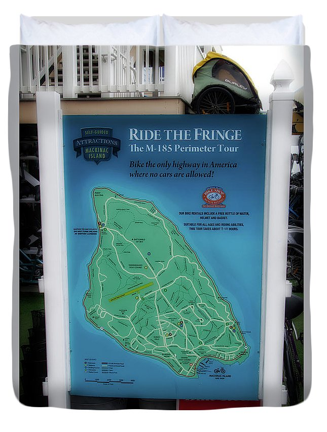 Mackinac Duvet Cover featuring the photograph M 185 Ride The Fringe Signage Mackinac Island Michigan Vertical by Thomas Woolworth