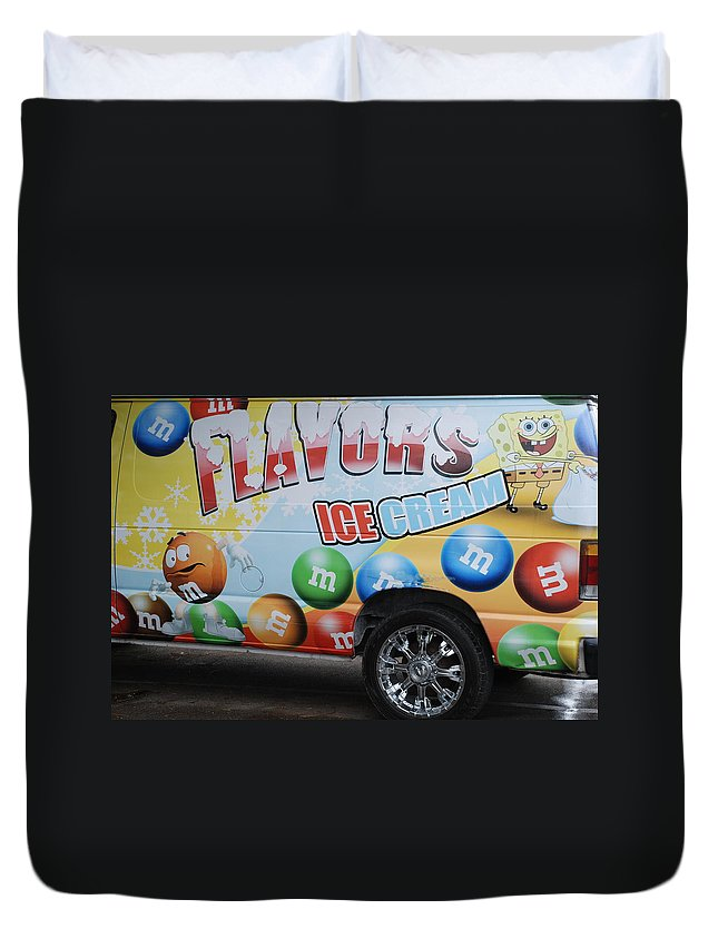Sponge Bob Duvet Cover featuring the photograph M And M Flavors For The Kids by Rob Hans