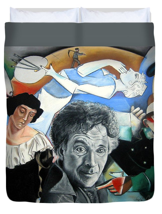 Chagall Portrait Duvet Cover featuring the drawing M Chagall by Leyla Munteanu