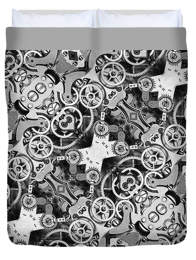 Gear Duvet Cover featuring the photograph M M - Mechanismadness by Nenad Cerovic