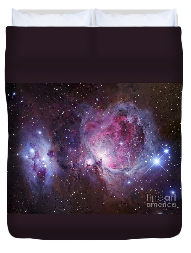 Astronomy Duvet Cover featuring the photograph M42, The Orion Nebula Top, And Ngc by Robert Gendler