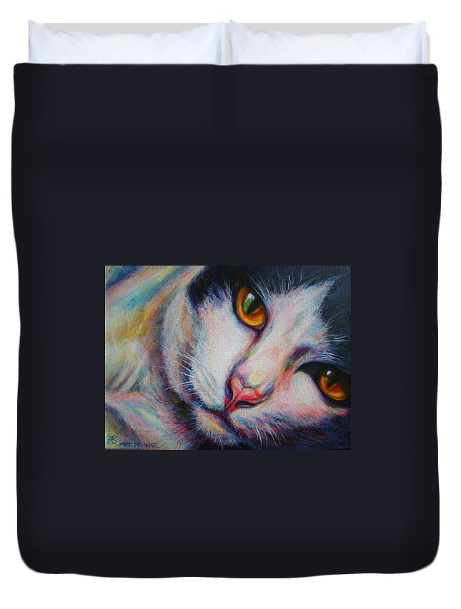 Cat Duvet Cover featuring the painting Ma-pang by Jack No War