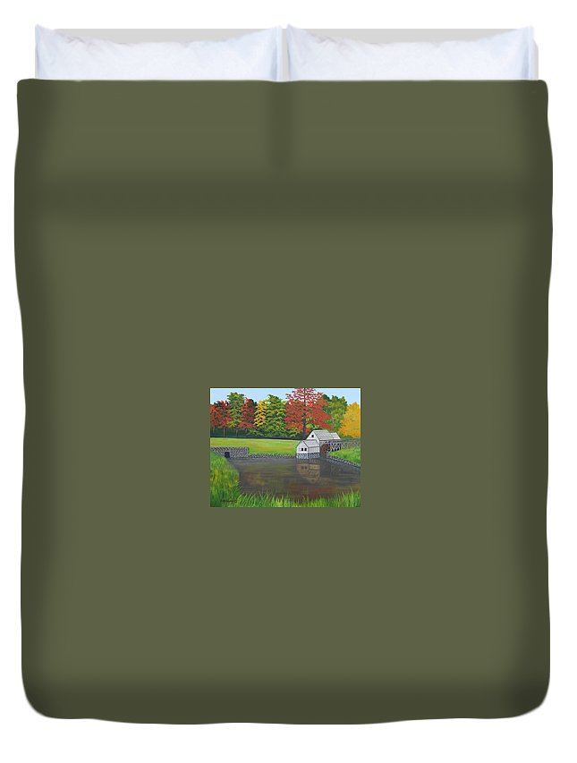 Landscape Duvet Cover featuring the painting Mabry Grist Mill by Ruth Housley