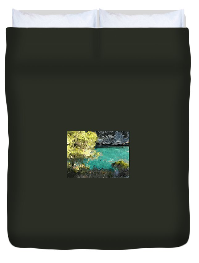 Sea Duvet Cover featuring the photograph Macarella by Dee Flouton
