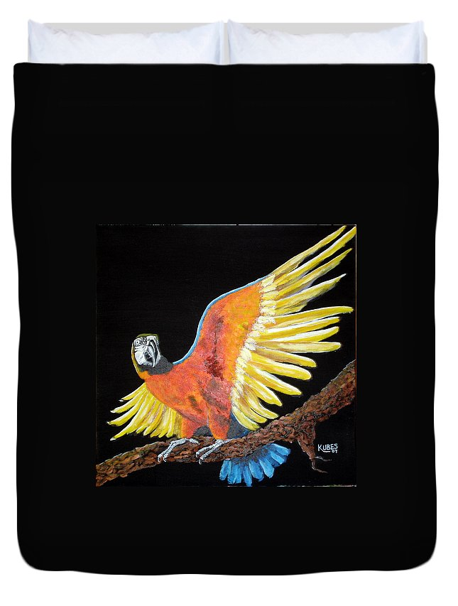 Macaw Duvet Cover featuring the painting Macaw - Wingin' It by Susan Kubes