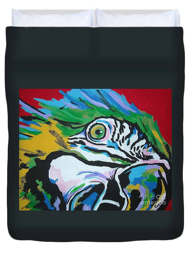 Macaw Duvet Cover featuring the painting Macaw by Caroline Davis