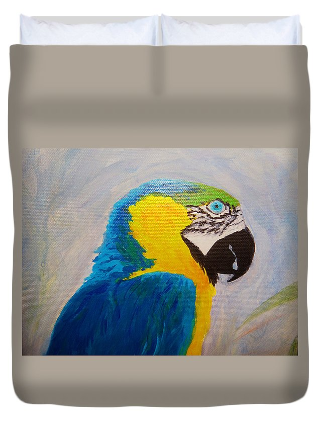 Macaw Duvet Cover featuring the painting Macaw Head by Anne Marie Brown