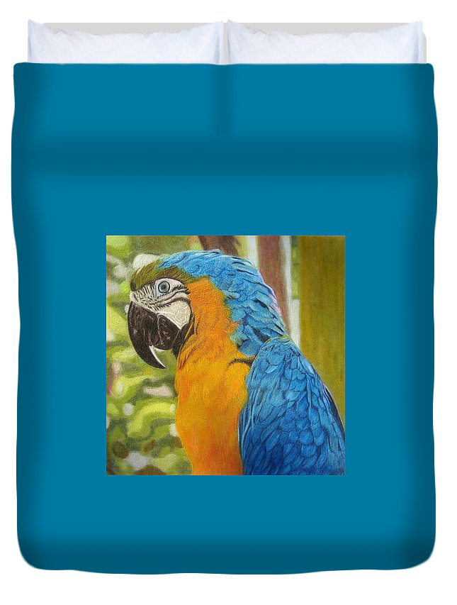 Birds Duvet Cover featuring the drawing Macaw by Lori Hanks