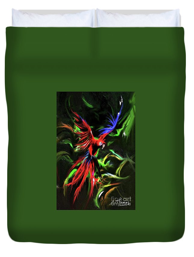 Macaw Duvet Cover featuring the digital art Macaw Parrot by Alex Thomas