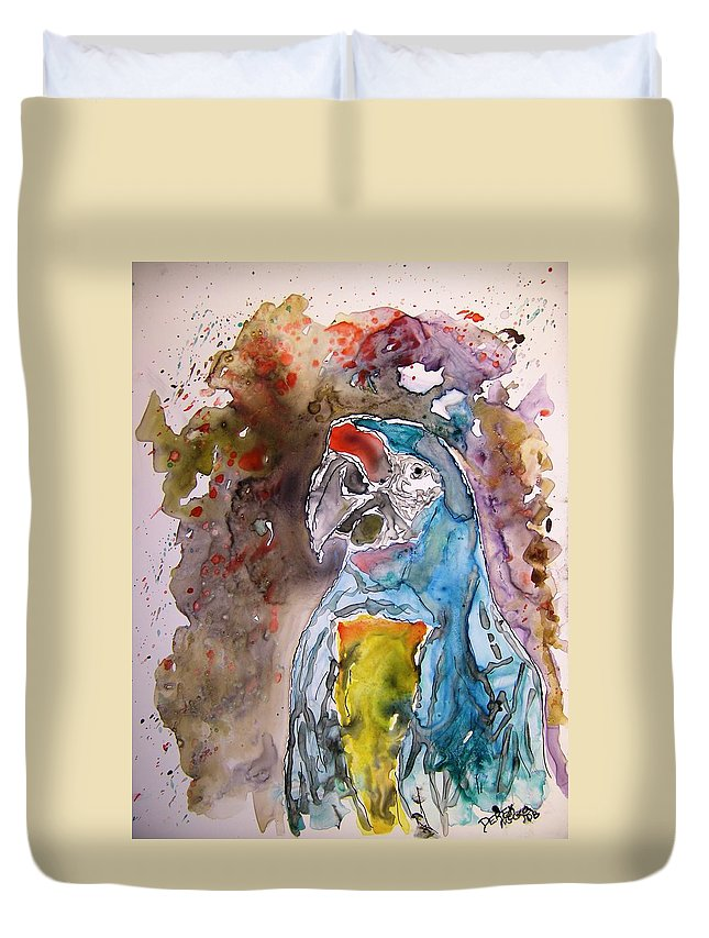 Parrot Duvet Cover featuring the painting Macaw Parrot by Derek Mccrea