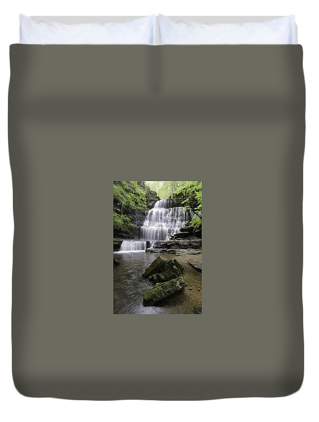 Waterfall Duvet Cover featuring the photograph Machine Falls by Arthur Gonzales