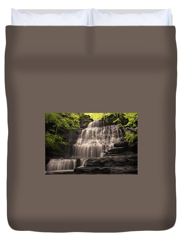 Waterfall Duvet Cover featuring the photograph Machine Falls Mashup by Arthur Gonzales