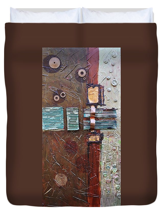 Metal Abstract Duvet Cover featuring the painting Machine Shop 2 by Ginger Concepcion