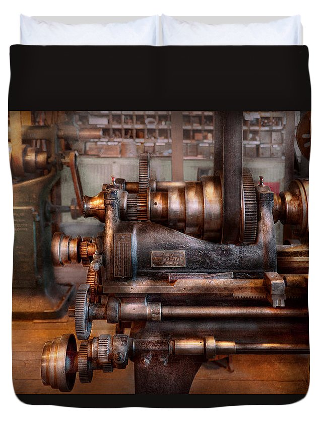 Machinist Duvet Cover featuring the photograph Machinist - Steampunk - 5 Speed Semi Automatic by Mike Savad