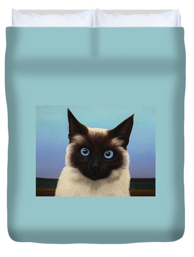 Cat Duvet Cover featuring the painting Machka 2001 by James W Johnson