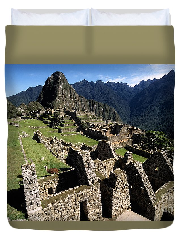 Machu Picchu Duvet Cover featuring the photograph Machu Picchu Residential Sector by James Brunker
