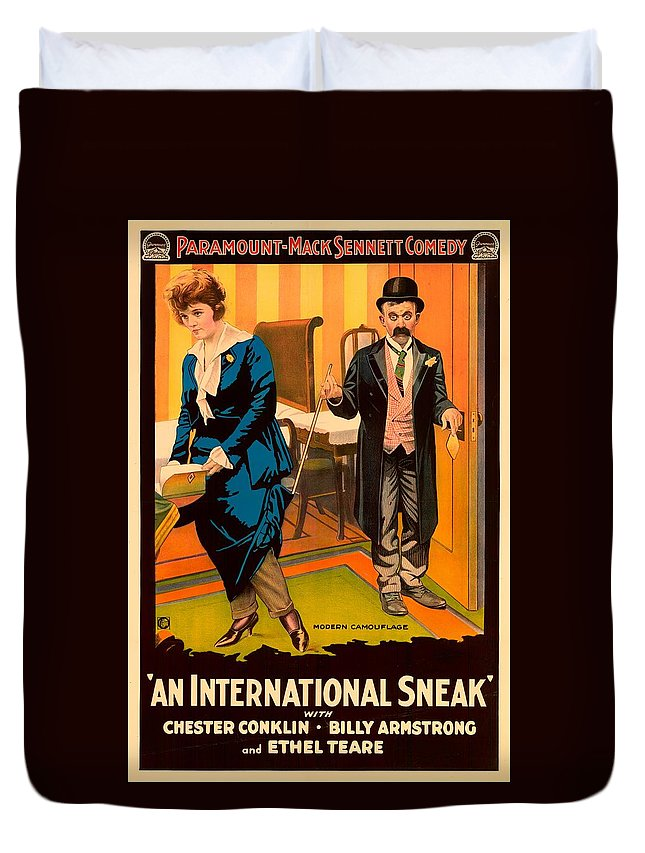 Movie Duvet Cover featuring the mixed media Mack Sennett Comedy - An International Sneak 1917 by Mountain Dreams