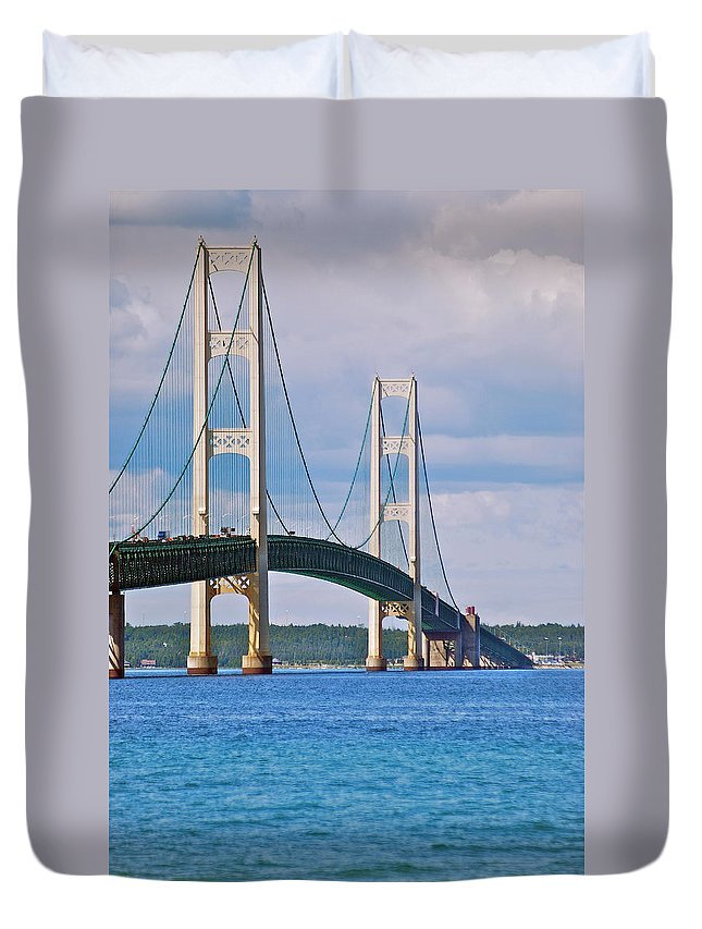 America Duvet Cover featuring the photograph Mackinac Bridge by Michael Peychich