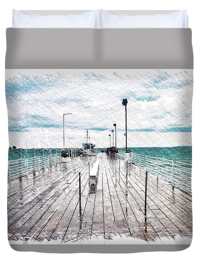 Mackinac Duvet Cover featuring the photograph Mackinac Island Michigan Shuttle Pier Pa 02 by Thomas Woolworth