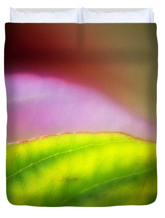 Macro Duvet Cover featuring the photograph Macro Leaf by Lee Santa