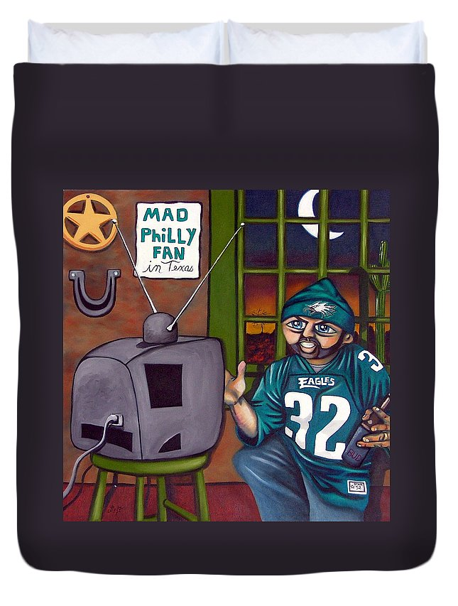 Philadelphia Duvet Cover featuring the painting Mad Philly Fan In Texas by Elizabeth Lisy Figueroa