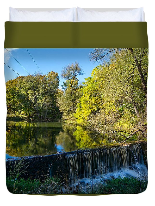 Landscape Duvet Cover featuring the photograph Mad River Waterfall by Richard Kitchen