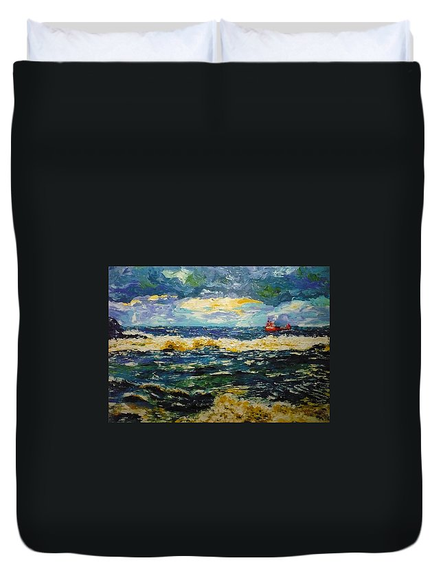 Sea Duvet Cover featuring the painting Mad Sea by Ericka Herazo