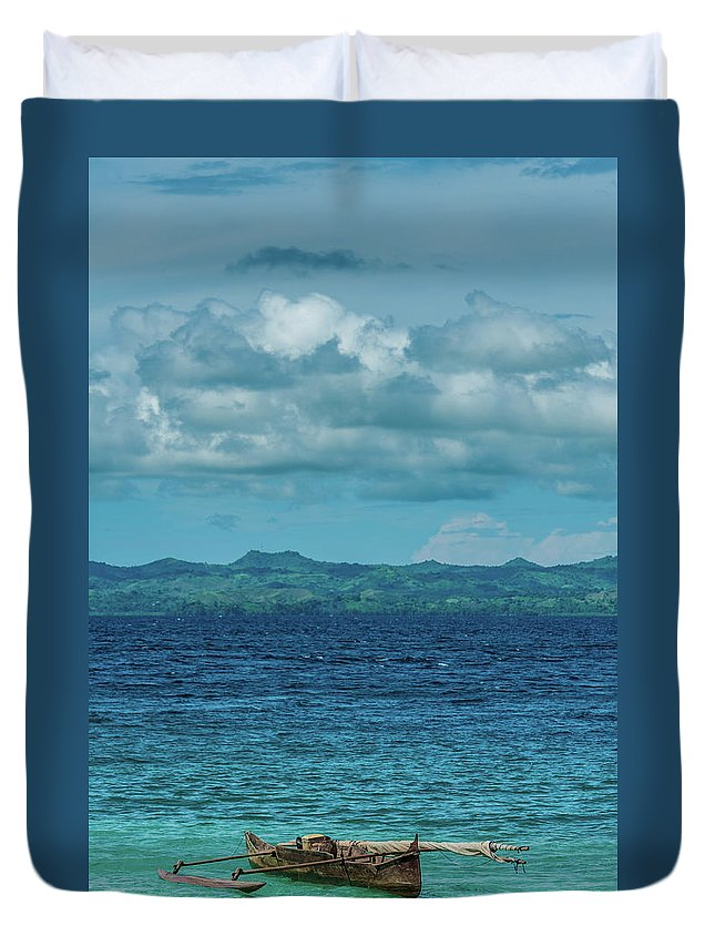 Madagascar Duvet Cover featuring the photograph Madagascar, Nosy Be, Small Boat In Sea by Michael Jacobs