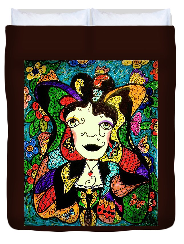 Fantasy Duvet Cover featuring the painting Madame Butterfly by Natalie Holland
