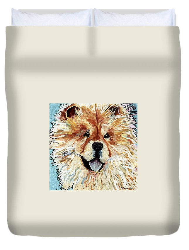 Chow Chow Duvet Cover featuring the pastel Madame Chu Cho by Pat Saunders-White