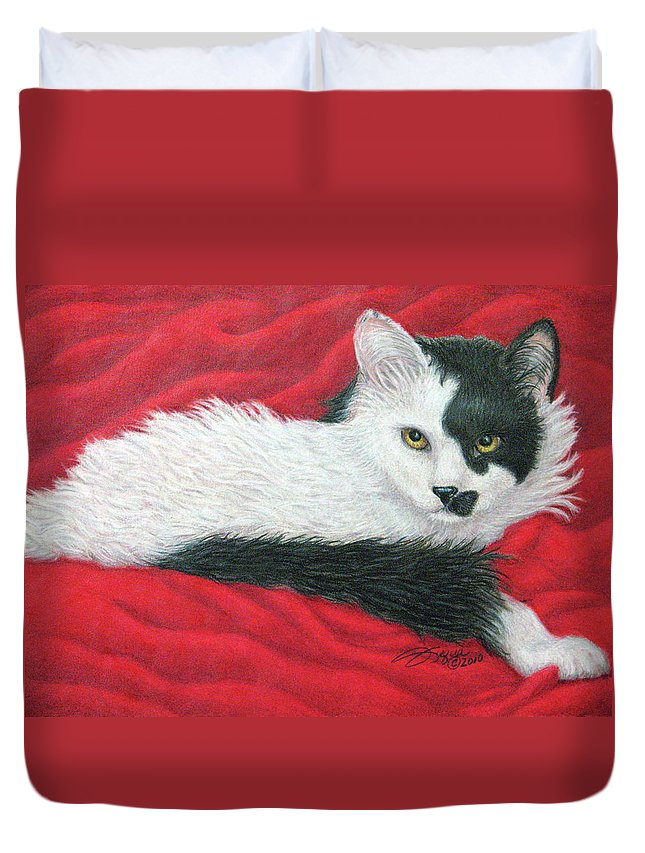 Pet Portraits Duvet Cover featuring the drawing Maddie In Red by Beverly Fuqua