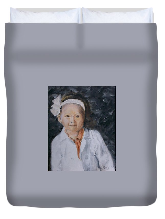 Portrait Duvet Cover featuring the painting Maddie by Stephen King
