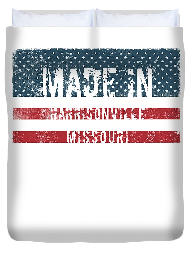Harrisonville Duvet Cover featuring the digital art Made In Harrisonville, Missouri by Tinto Designs