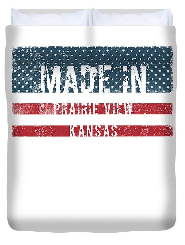 Prairie View Duvet Cover featuring the digital art Made In Prairie View, Kansas by Tinto Designs