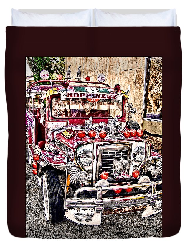 Jeepney Duvet Cover featuring the photograph Made In The Philippines by Jason Abando