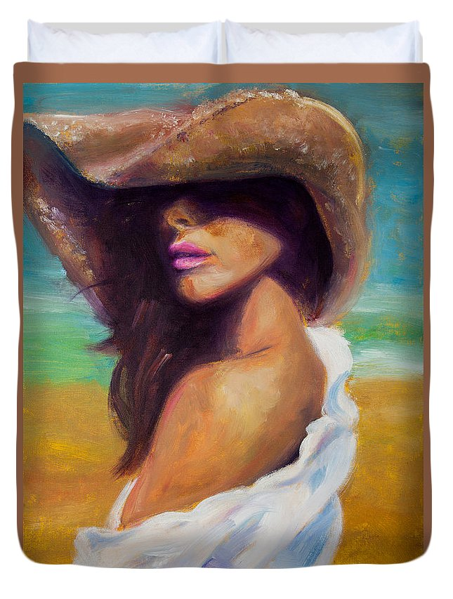 Girl Duvet Cover featuring the painting Made In The Shade by Jason Reinhardt