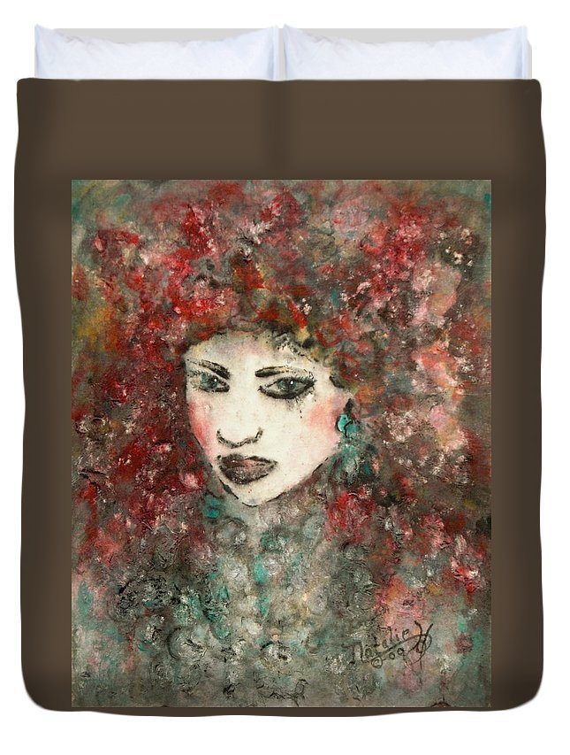 Mademoiselle Duvet Cover featuring the painting Mademoiselle by Natalie Holland