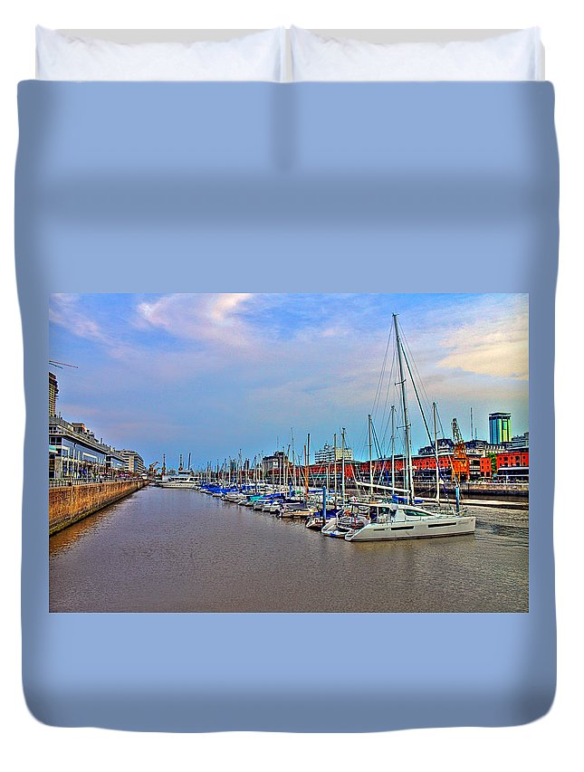Buenos Duvet Cover featuring the photograph Madero Boat Yard by Francisco Colon