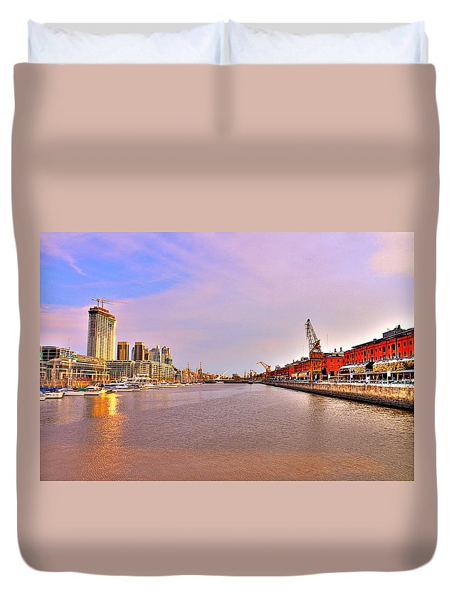 Buenos Duvet Cover featuring the photograph Madero River by Francisco Colon